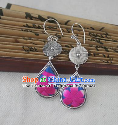 Chinese Handmade Miao Sliver Eardrop Hmong Nationality Embroidered Rosy Flower Earrings for Women