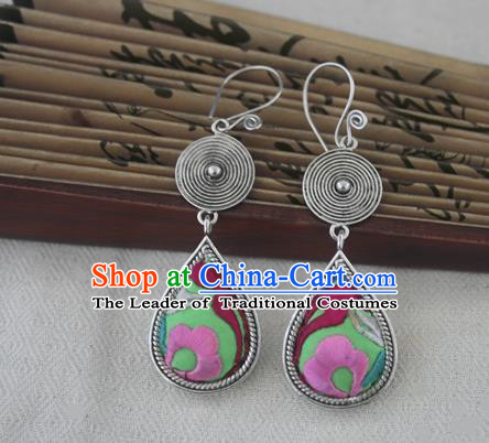 Chinese Handmade Miao Sliver Eardrop Hmong Nationality Embroidered Green Earrings for Women
