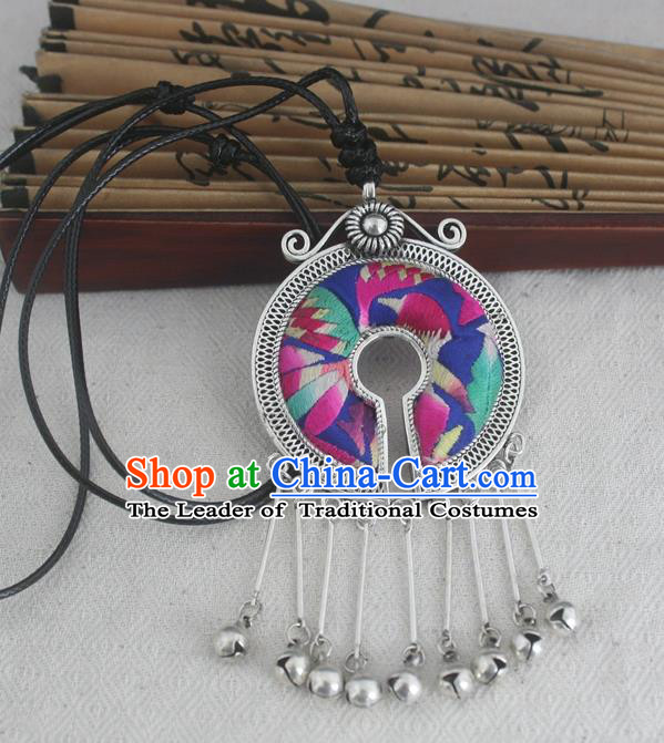 Chinese Miao Sliver Ornaments Embroidered Necklace Traditional Hmong Handmade Necklet Pendant for Women