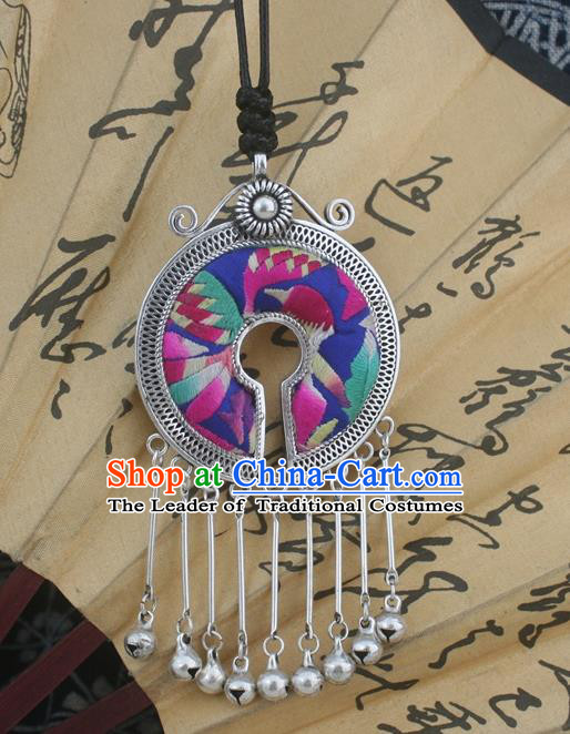 Traditional Chinese Miao Nationality Hair Accessories Hmong Female Folk Dance Hairpins Bracelet Sliver Necklace Headwear for Women