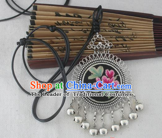 Chinese Miao Sliver Ornaments Embroidered Necklace Hmong Handmade Necklet Pendant for Women