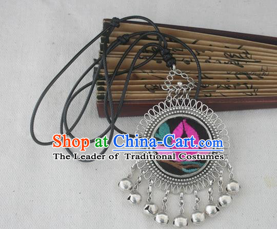 Chinese Miao Sliver Ornaments Embroidered Lotus Necklace Hmong Handmade Necklet Pendant for Women