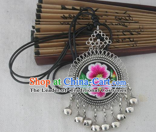 Chinese Miao Sliver Ornaments Embroidered Petunia Necklace Hmong Handmade Necklet Pendant for Women