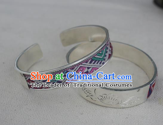Chinese Miao Sliver Ornaments Embroidered Bracelet Traditional Hmong Handmade Bangle for Women
