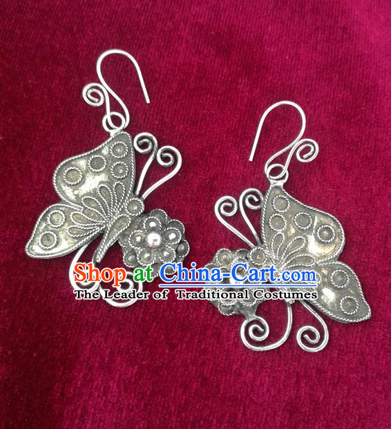 Chinese Miao Sliver Ornaments Sliver Earrings Traditional Hmong Handmade Butterfly Eardrop for Women