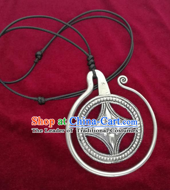 Chinese Miao Sliver Ornaments Necklace Traditional Hmong Necklet Pendant for Women