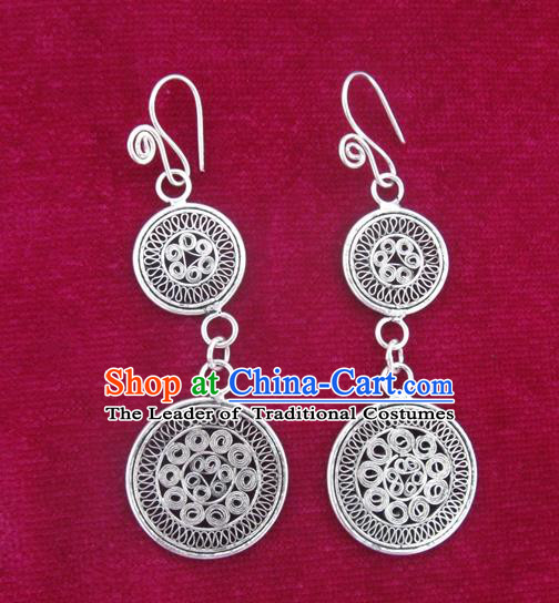 Chinese Miao Sliver Ornaments Earrings Traditional Hmong Eardrop for Women