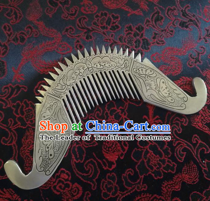 Traditional Chinese Miao Nationality Hair Comb Hanfu Sliver Hairpins Hair Accessories for Women