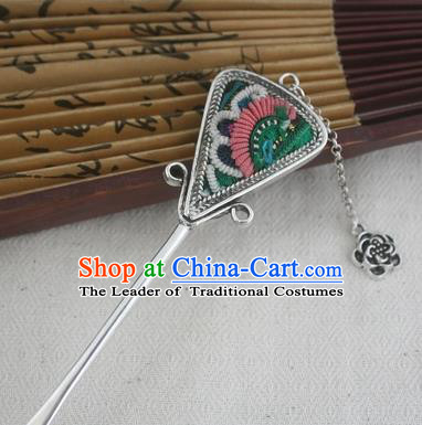 Traditional Chinese Miao Nationality Sliver Tassel Hair Clip Hanfu Embroidered Green Hairpins Hair Accessories for Women