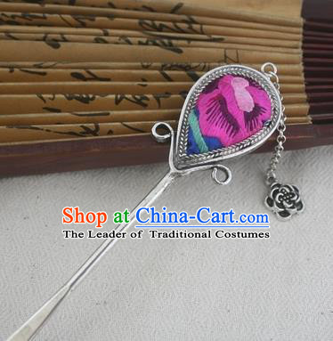 Traditional Chinese Miao Nationality Sliver Tassel Hair Clip Hanfu Embroidered Rosy Hairpins Hair Accessories for Women