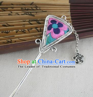 Traditional Chinese Miao Nationality Sliver Tassel Hair Clip Hanfu Embroidered Pink Hairpins Hair Accessories for Women
