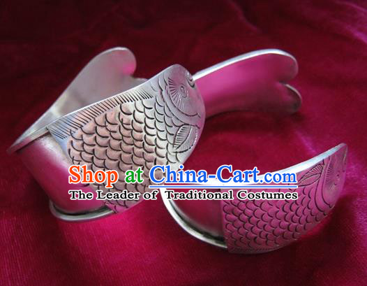 Chinese Miao Sliver Ornaments Carving Fish Bracelet Traditional Hmong Handmade Sliver Bangle for Women