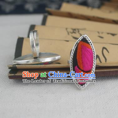 Chinese Traditional Miao Sliver Willow Leaf Ring Traditional Hmong Embroidered Butterfly Wing Rings for Women