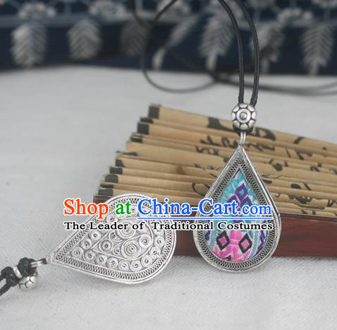 Chinese Traditional Miao Sliver Embroidered Blue Necklace Traditional Hmong Necklet for Women