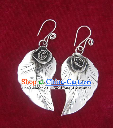 Chinese Miao Sliver Ornaments Flower Earrings Traditional Hmong Eardrop for Women