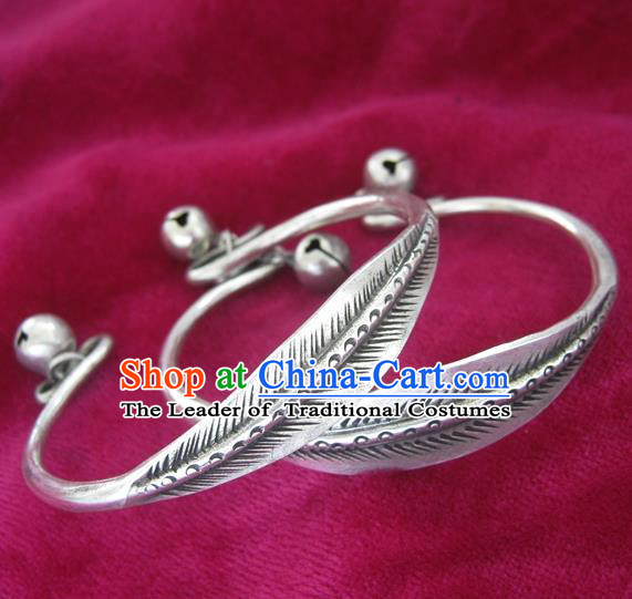 Chinese Miao Sliver Ornaments Leaf Bracelet Traditional Hmong Handmade Sliver Bangle for Women