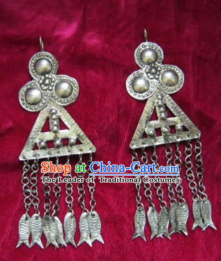 Chinese Handmade Miao Sliver Tassel Earrings Hmong Nationality Eardrop Pendant for Women