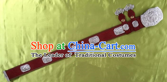 Traditional Chinese Mongol Nationality Waistband Mongolian Robe Leather Belts for Men