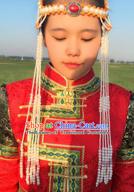 Chinese Traditional Mongol Stage Performance Hair Accessories, Mongolian Folk Dance Tassel Headwear for Women