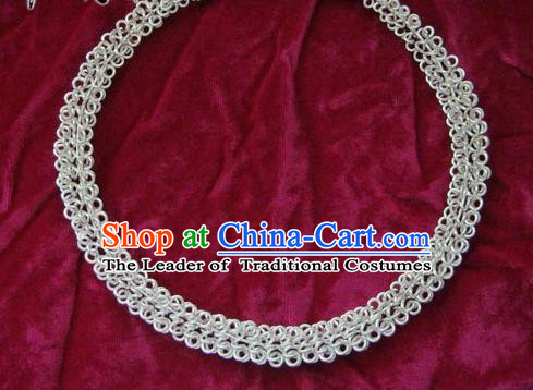 Chinese Miao Sliver Necklace Ornaments Traditional Hmong Sliver Necklet for Women