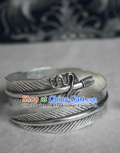 Chinese Miao Sliver Ornaments Feather Bracelet Traditional Hmong Handmade Sliver Bangle for Women