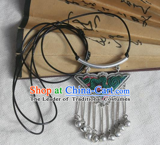 Chinese Miao Sliver Bells Tassel Sweater Chain Ornaments Traditional Hmong Embroidered Necklace for Women