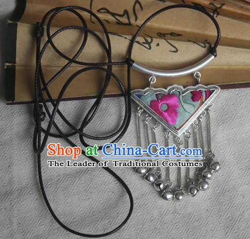 Chinese Miao Sliver Bells Tassel Sweater Chain Ornaments Traditional Hmong Embroidered Light Green Necklace for Women