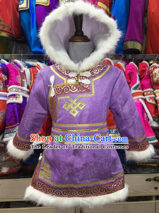 Chinese Traditional Girls Purple Mongolian Robe, China Mongolian Minority Folk Dance Ethnic Costume for Kids