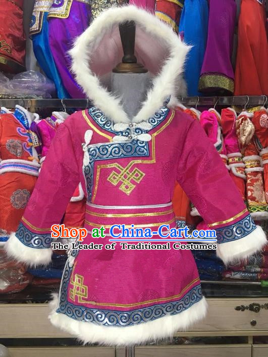 Chinese Traditional Girls Rosy Mongolian Robe, China Mongolian Minority Folk Dance Ethnic Costume for Kids