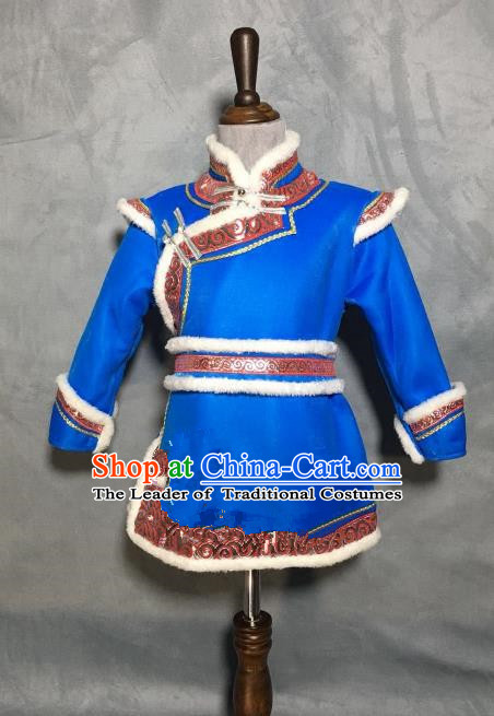 Chinese Traditional Mongol Nationality Boys Blue Mongolian Robe, China Mongolian Minority Folk Dance Ethnic Costume for Kids