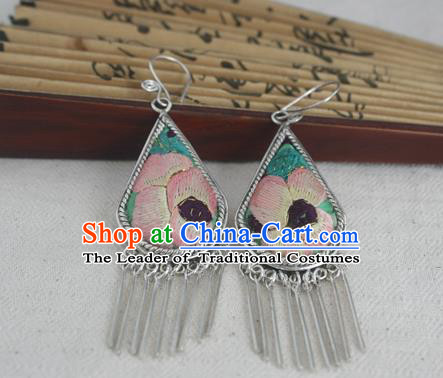 Traditional Chinese Miao Sliver Embroidered Pink Flower Earrings Ornaments Hmong Sliver Eardrop for Women
