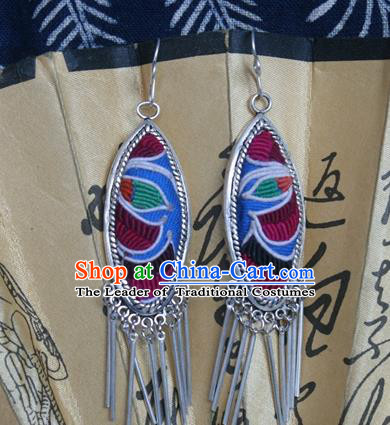 Traditional Chinese Miao Sliver Earrings Ornaments Hmong Embroidered Eardrop for Women