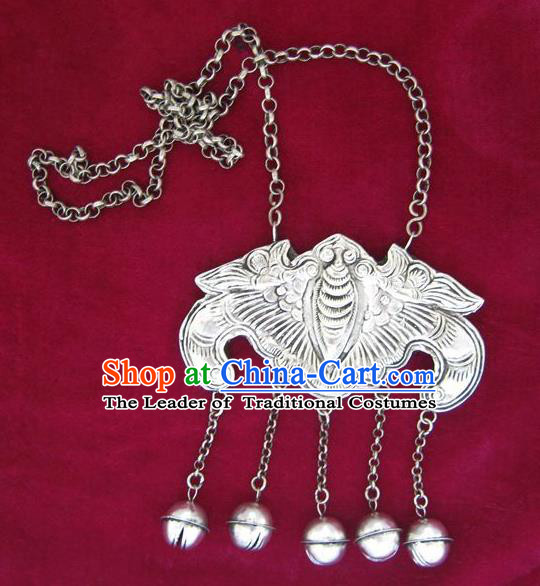 Traditional Chinese Miao Sliver Carving Bat Necklace Hmong Ornaments Longevity Lock for Women
