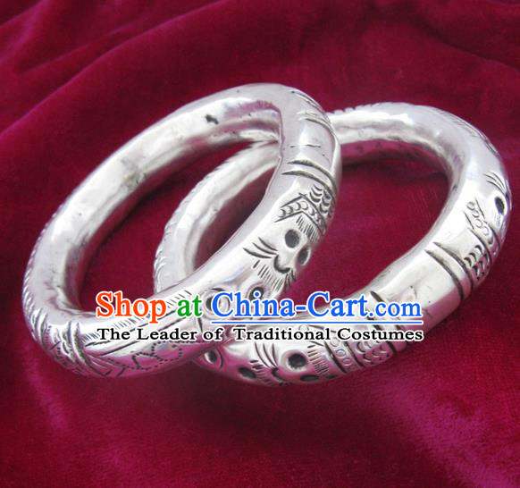 Handmade Chinese Miao Nationality Carving Dragon Bracelet Traditional Hmong Sliver Bangle for Women