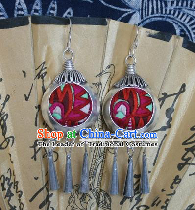 Traditional Chinese Miao Sliver Embroidered Red Earrings Hmong Ornaments Tassel Eardrop for Women
