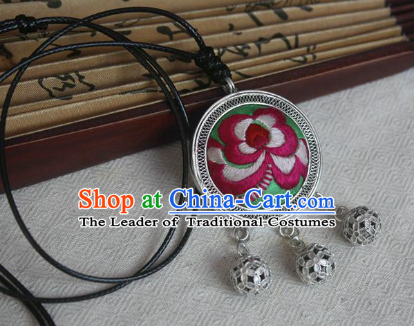 Traditional Chinese Miao Sliver Embroidered Peony Green Necklace Hmong Ornaments Minority Headwear for Women