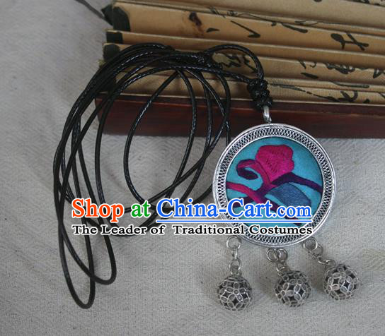 Traditional Chinese Miao Sliver Embroidered Blue Necklace Hmong Ornaments Minority Headwear for Women