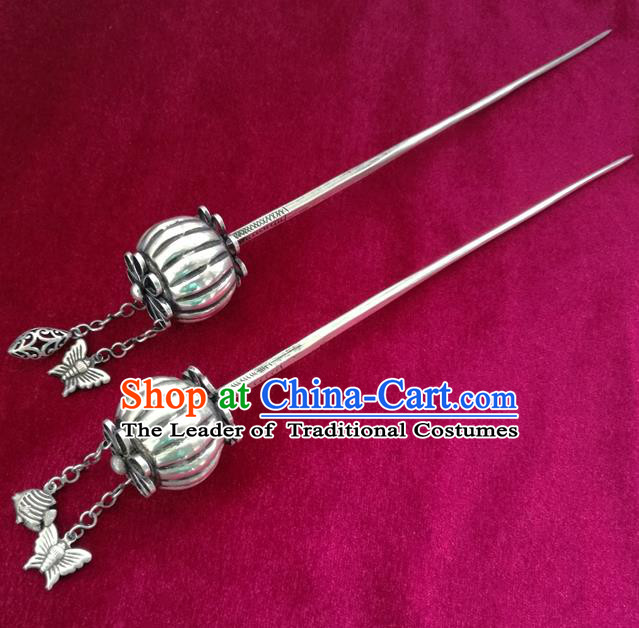 Traditional Chinese Miao Nationality Pumpkin Hair Clip Hanfu Sliver Hairpins Hair Accessories for Women