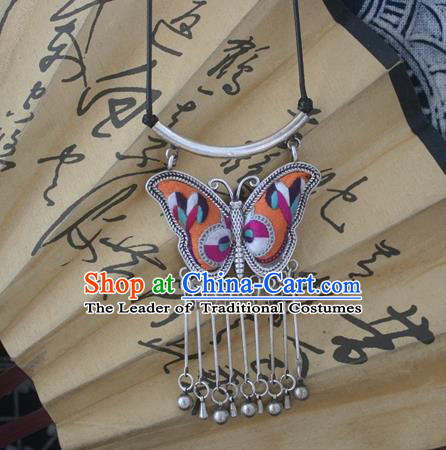 Chinese Miao Sliver Traditional Embroidered Orange Butterfly Necklace Hmong Ornaments Minority Headwear for Women