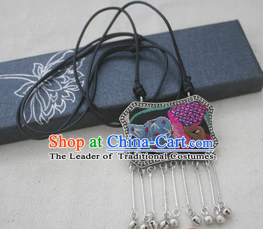 Chinese Miao Sliver Traditional Embroidered Necklace Hmong Ornaments Minority Longevity Lock Headwear for Women