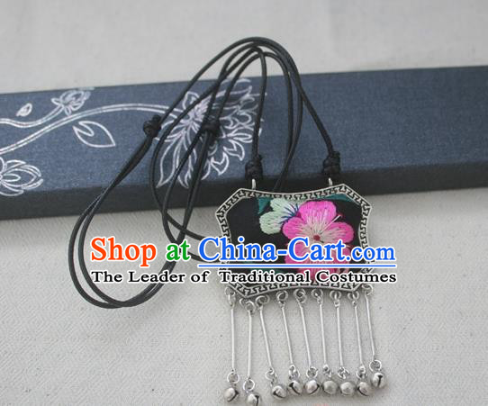 Chinese Miao Sliver Traditional Embroidered Black Necklace Hmong Ornaments Minority Longevity Lock Headwear for Women