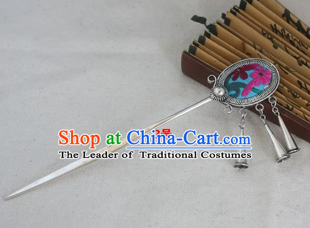 Traditional Chinese Miao Nationality Embroidered Blue Hair Clip Hanfu Sliver Hairpins Hair Accessories for Women