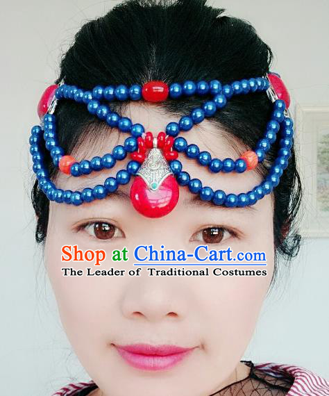 Chinese Traditional Mongol Stage Performance Hair Accessories, Mongolian Folk Dance Hair Clasp Headwear for Women