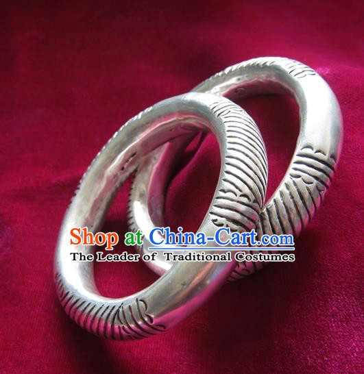 Handmade Chinese Miao Sliver Ornaments Carving Bracelet Traditional Hmong Sliver Bangle for Women