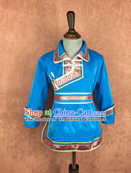 Chinese Traditional Mongol Nationality Blue Clothing, China Mongolian Minority Folk Dance Ethnic Costume for Kids