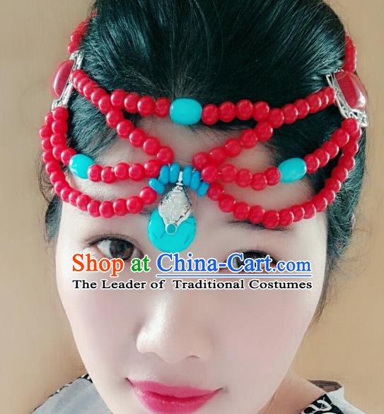 Chinese Traditional Mongol Stage Performance Hair Accessories, Mongolian Folk Dance Red Beads Hair Clasp Headwear for Women