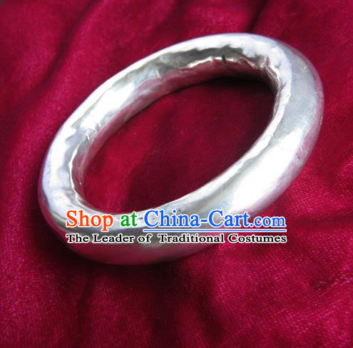 Handmade Chinese Miao Sliver Bracelet Traditional Hmong Sliver Bangle for Women