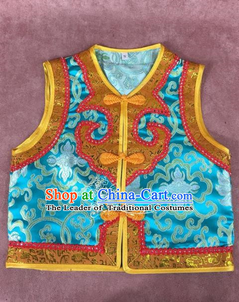 Chinese Traditional Mongol Nationality Blue Vest, China Mongolian Minority Folk Dance Waistcoat Ethnic Costume for Kids
