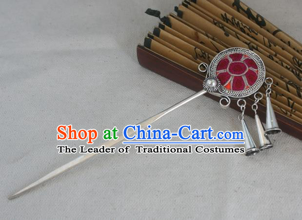 Traditional Chinese Miao Nationality Embroidered Red Hair Clip Hanfu Sliver Hairpins Hair Accessories for Women