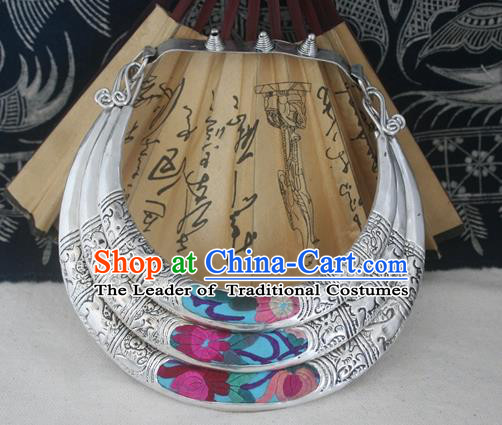 Traditional Chinese Miao Sliver Chinese Zodiac Wedding Necklace Hmong Ornaments Minority Headwear for Women